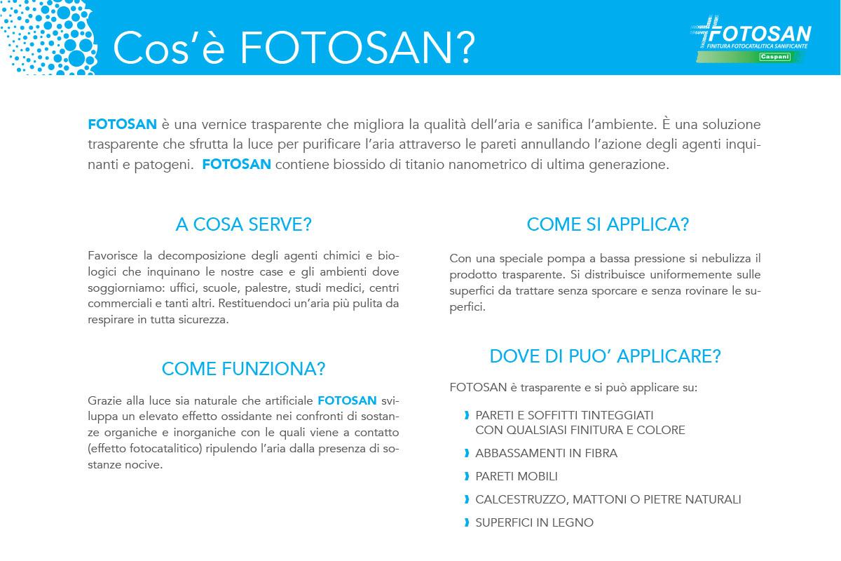 FOTOSAN è una vernice trasparente che migliora la qualità dell'aria e sanifica l'ambiente.